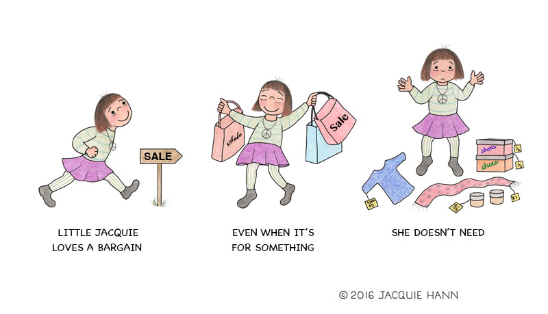 Little Jacquie on Bargains by Jacquie Hann