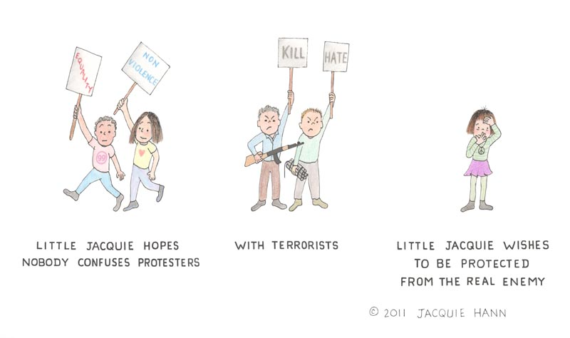 Little Jacquie on Protesters by Jacquie Hann