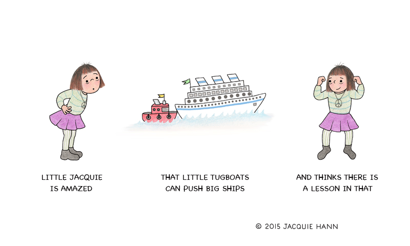 Little Jacquie on Tugboats by Jacquie Hann
