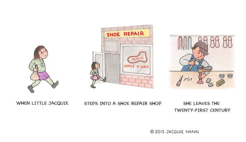 Little Jacquie on Shoe Repair by Jacquie Hann
